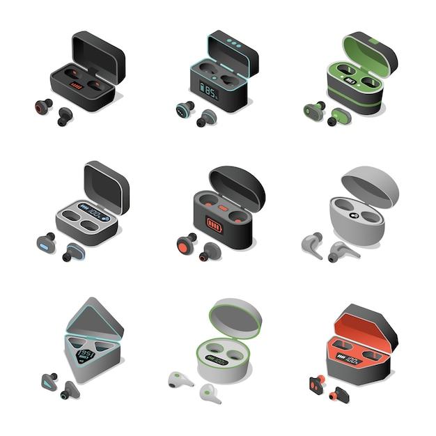Set verschiedener kabelloser kopfhörer in wiederaufladbaren hüllen Premium Vektoren