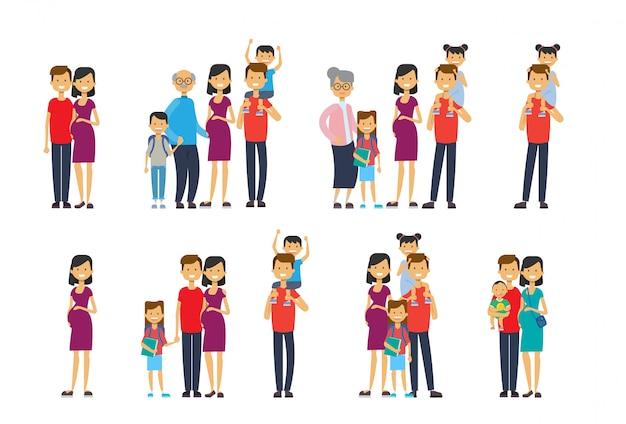 Set vielfalt stellt großeltern eltern enkelkinder, multi-generationen-familie, Premium Vektoren