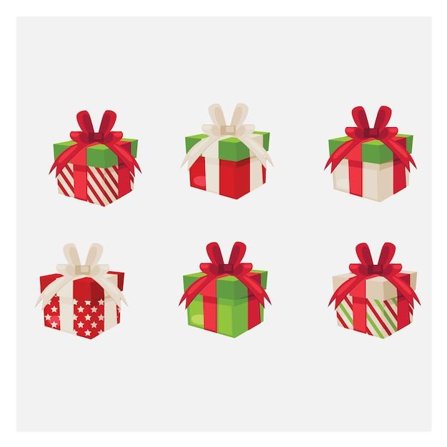 Set vielzahlgeschenkkästen. bunte geschenkbox. Premium Vektoren