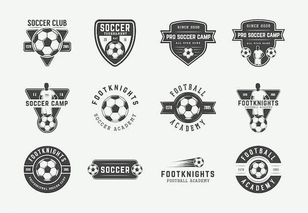 Set vintage fußball oder fußball-logo Premium Vektoren