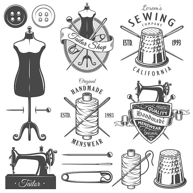 Set vintage monochrome schneiderwerkzeuge und embleme. Premium Vektoren