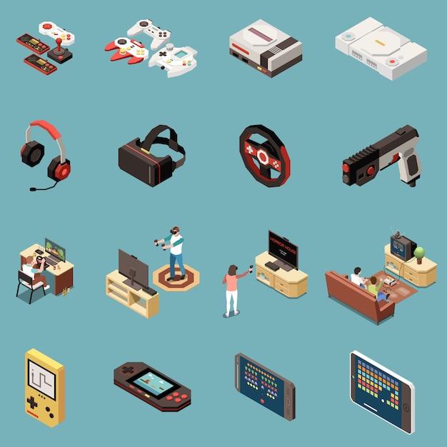 Set von 16 isometrischen symbolen für isolierte gaming-spieler mit vintage-konsolenspielzubehör und modernen gadgets Kostenlosen Vektoren