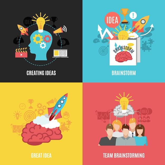 Set von 2x2 brainstorm-kompositionen Kostenlosen Vektoren