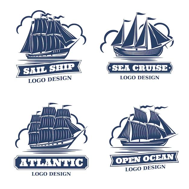 Set von 4 logos mit dem bild von segelschiffen im retro-stil, monochrome farbe. auf einem weißen hintergrund isoliert. es gibt einen platz für text Premium Vektoren