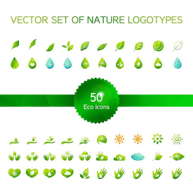 Set von 50 ökologieikonen, naturlogo, biologiesymbole Premium Vektoren