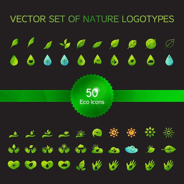 Set von 50 ökologieikonen Premium Vektoren