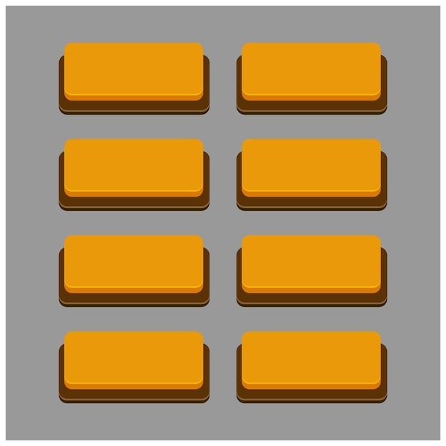 Set von 8 orange farbe tasten auf grauem hintergrund Kostenlosen Vektoren