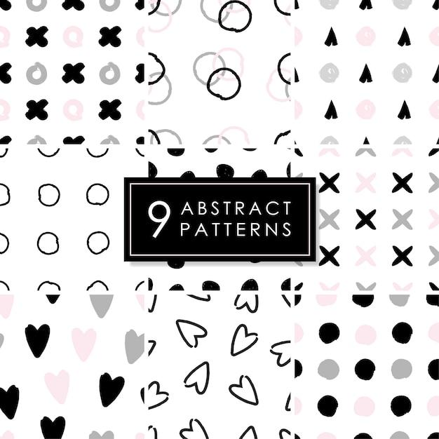 Set von 9 abstrakten nahtlosen mustern. Premium Vektoren