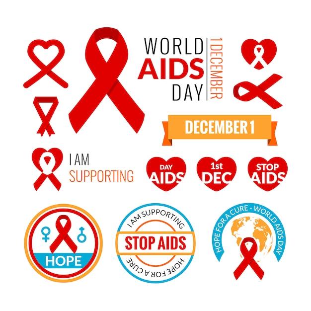Set von aids-abzeichen. vektor-sammlung Premium Vektoren