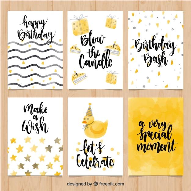 Set von Aquarell Geburtstagskarten mit Nachrichten | Download der ...