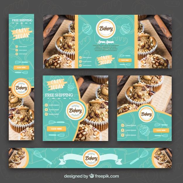 Set von Bäckerei Banner Kostenlose Vektoren