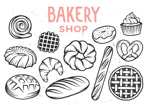 Set von bäckerei gravierten elementen. bäckerei. Premium Vektoren