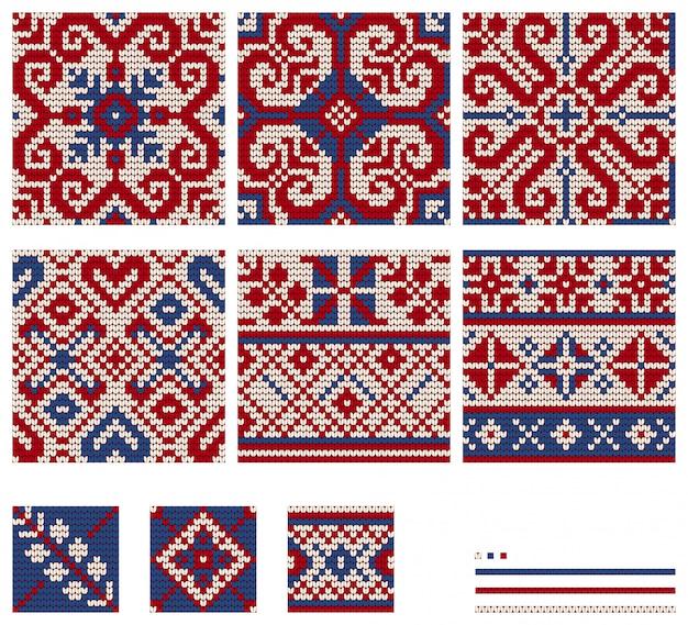 Set von baltic star strickmustern Premium Vektoren