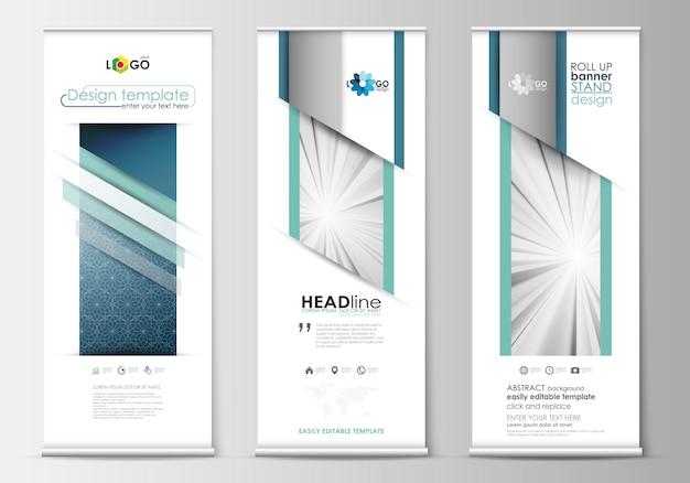 Set von banner banner stehen, flache design-vorlagen Premium Vektoren