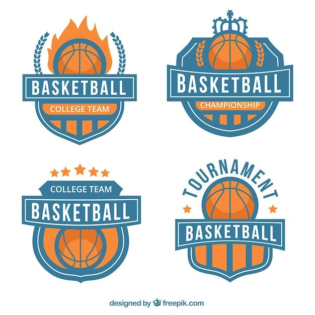 Set von basketball-abzeichen Kostenlosen Vektoren