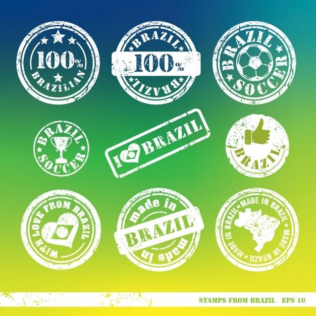 Set von briefmarken aus brasilien vektorelemente für ihr design Kostenlosen Vektoren