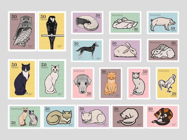 Set von briefmarken mit verschiedenen tieren Kostenlosen Vektoren