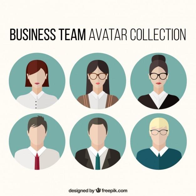 Set von Business-Team Avatare Kostenlose Vektoren