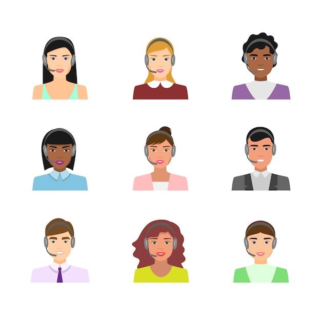 Set von call-center-arbeiter-avataren in moderner kleidung Premium Vektoren