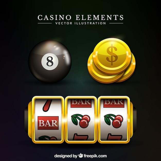 Set von casino-elemente in realistischen design Kostenlosen Vektoren