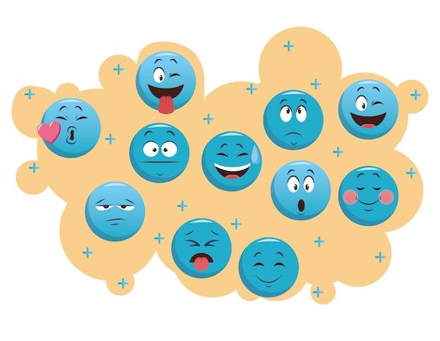 Set von chat-emoticons Premium Vektoren