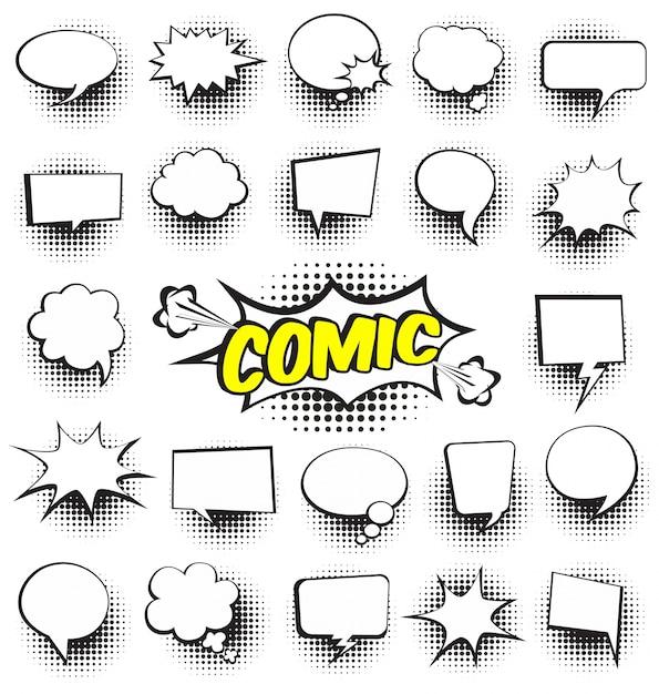 Set von Comic-Comic-Sprechblasen Leere Dialog-Wolken Kostenlose Vektoren