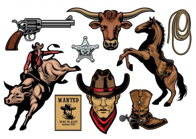 Set von cowboy-objekten Premium Vektoren