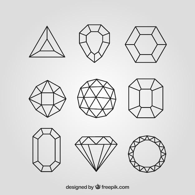 Set von diamanten in linearem stil Kostenlosen Vektoren