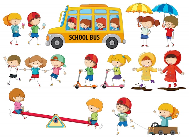 Set von doodle-kindern Kostenlosen Vektoren