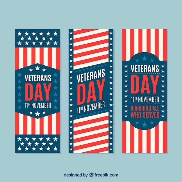 Set von drei banner von veterans day Kostenlosen Vektoren