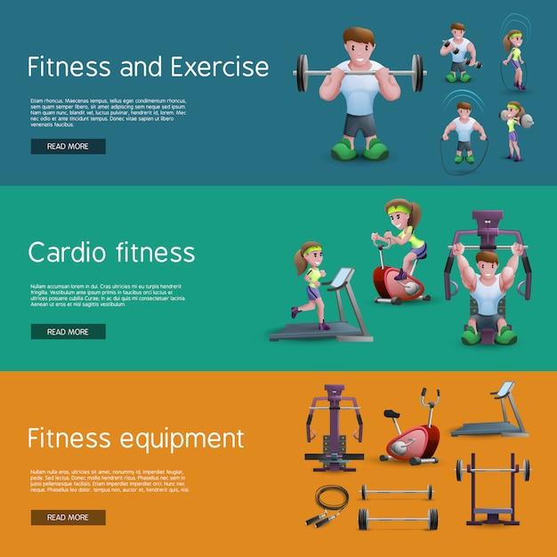 Set von drei fitness-banner Kostenlosen Vektoren