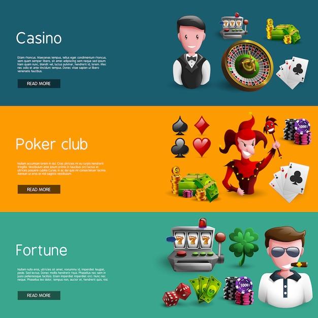 Set von drei kasino-fahnen Kostenlosen Vektoren