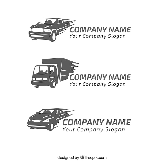 Set von drei logos mit dekorativen fahrzeugen Kostenlosen Vektoren