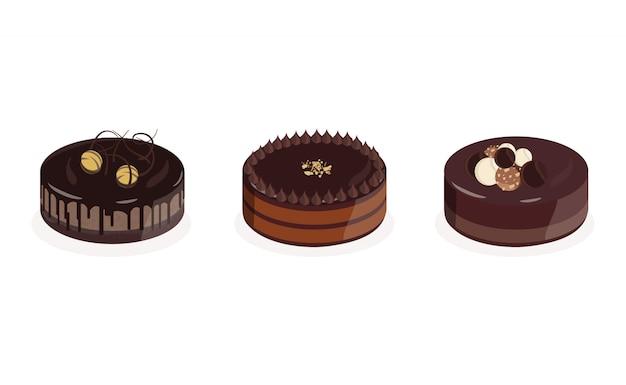 Set von drei premium-schokoladenkuchen Premium Vektoren