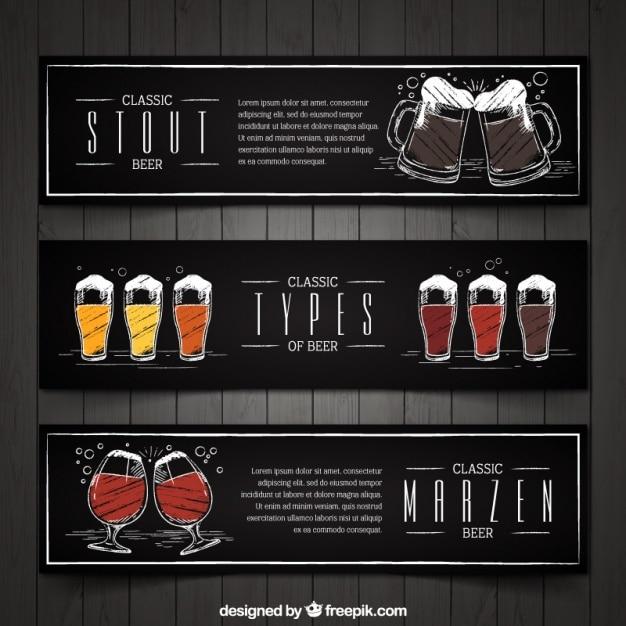 Set von drei vintage handbemalte bier banner Kostenlosen Vektoren