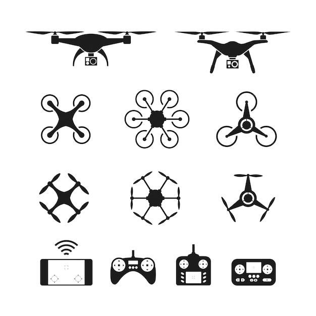 Set von drohnen oder quadcopter und fernbedienung symbole Premium Vektoren