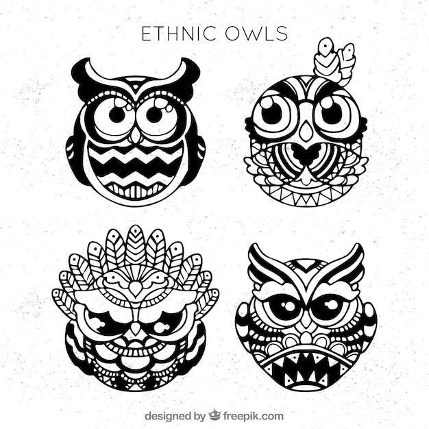 Set von ethnischen hand gezeichneten eulen Kostenlosen Vektoren
