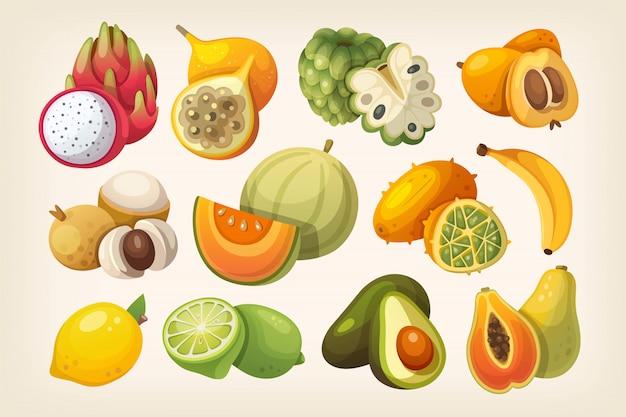 Set von exotischen früchten. Premium Vektoren