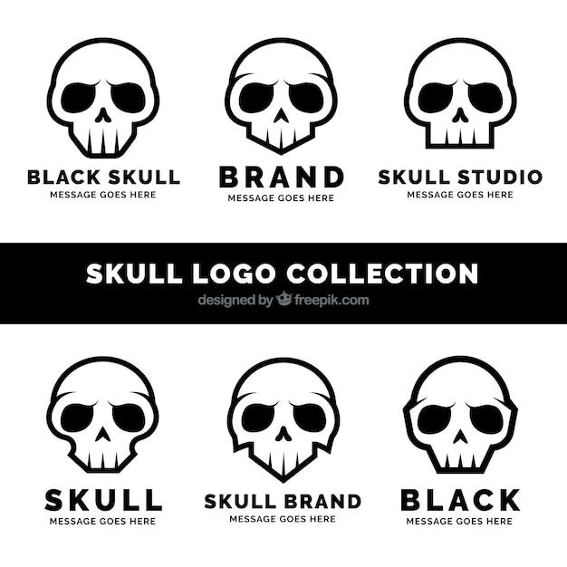 Set von fantastischen logos mit schwarzen schädeln Kostenlosen Vektoren