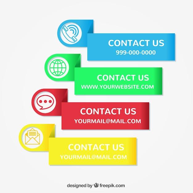 Set von farbigen kontakt aufkleber Kostenlosen Vektoren