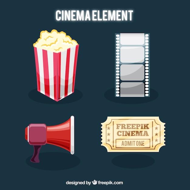 Set von filmobjekten Kostenlosen Vektoren