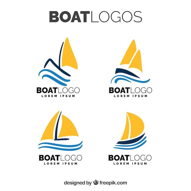 Set von flachen bootslogos mit orangensegeln Kostenlosen Vektoren