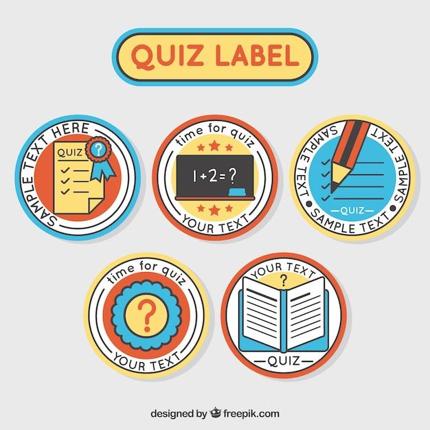Set von fünf runden quiz-etiketten Kostenlosen Vektoren
