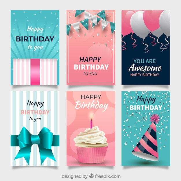 Set von geburtstagskarten mit feierlichkeiten Premium Vektoren