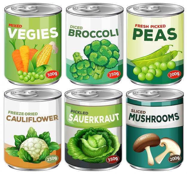Set von gemüsekonserven Premium Vektoren