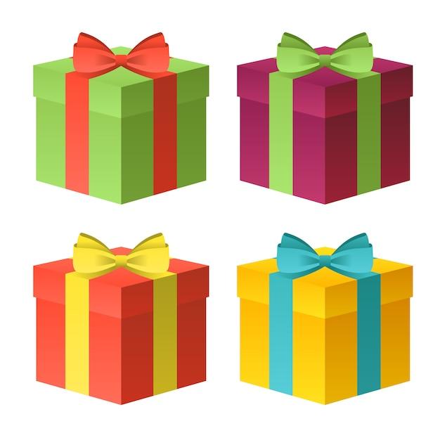 Set von geschenkboxen. Premium Vektoren