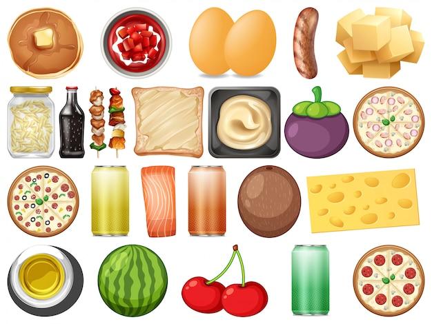 Set von gesunden lebensmitteln Premium Vektoren