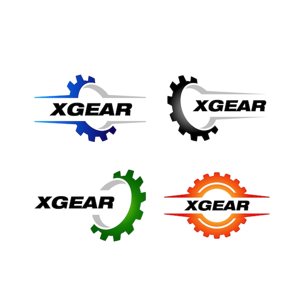 Set von getriebe logo vorlage Premium Vektoren