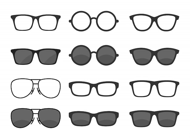 Set von gläsern Premium Vektoren
