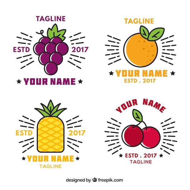 Set von großen logos mit dekorativen flachen früchten Kostenlosen Vektoren